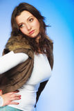 Woman in casual waistcoat. Winter fashion. Royalty Free Stock Image