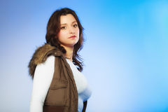 Woman in casual waistcoat. Winter fashion. Royalty Free Stock Images