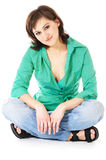 Woman in casual wear. Sitting woman in casual wear Royalty Free Stock Photography