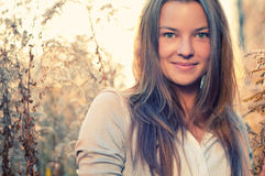 Woman in casual wear over nature Stock Images