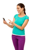Woman In Casuals Touching Smart Phone Stock Images