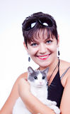 Woman with cat. Cute woman with domestic cat in her hands Royalty Free Stock Photo
