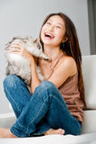Woman With Cat royalty free stock image