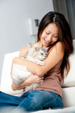 Woman With Cat Royalty Free Stock Photos