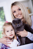 Woman and cat Royalty Free Stock Images