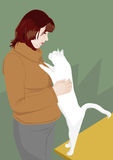 Woman and cat Royalty Free Stock Photography