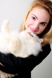 A woman with a cat Royalty Free Stock Photo