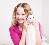 Woman with a cat Stock Photos