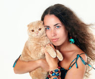 Woman with cat Stock Images