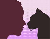 Woman & cat Stock Photos