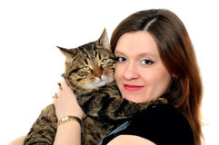 The woman and cat. The woman holds on hands of a grey cat and embraces him. Photographing on a white background Stock Photography