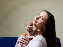 Woman with a cat Royalty Free Stock Image