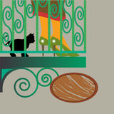 Woman and cat at balcony. With the wood panel Stock Photography