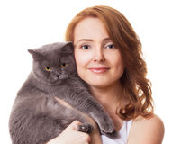 Woman with a cat Stock Images