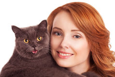 Woman with a cat Stock Image
