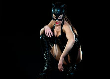 Woman in cat costume. Attractive woman in leather latex cat costume royalty free stock photo