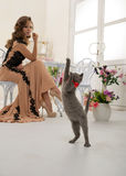 Woman and cat Royalty Free Stock Image