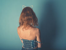Woman with cat ear hairband Royalty Free Stock Image