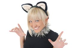 Woman with cat ears Stock Photography