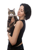 Woman and cat Stock Photography