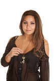 Woman cat necklace sheer shirt Royalty Free Stock Photos