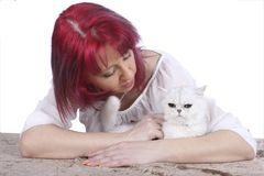 Woman with a cat Stock Photography