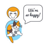 Woman and cat with speech bubble and saying Stock Photos