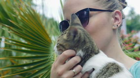 Woman with cat on summer vacations. Blonde smiling beautiful young woman in sunglasses with young cat surrounded summer palms stock video footage