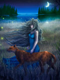 Woman And Cat Walking In The Moonlight - Digital P. Digital painting of a woman and a large cat walking through tall grass near a crescent moon reflected in dark Stock Photo