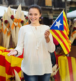 Woman with Catalan Flag. In Barcelona, Spain Stock Photos