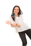 Woman catch big bubble Stock Images