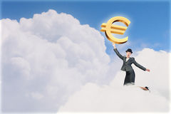 Woman catch euro Royalty Free Stock Image