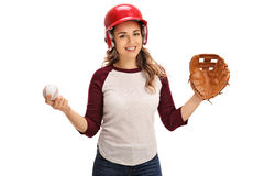 Woman with a catcher glove and a baseball Royalty Free Stock Photography