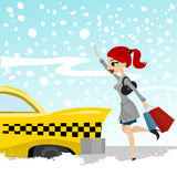 Woman catches a taxi Stock Photography