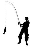 Woman with a catching fish. Fisher woman with a catching fish and tackle royalty free illustration