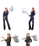 The woman with catching net and papers Stock Photo