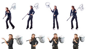 The woman with catching net and papers Stock Photography