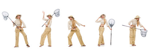 The woman with catching net on white. Woman with catching net on white Stock Photo