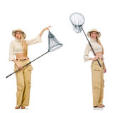 The woman with catching net on white. Woman with catching net on white Royalty Free Stock Photography