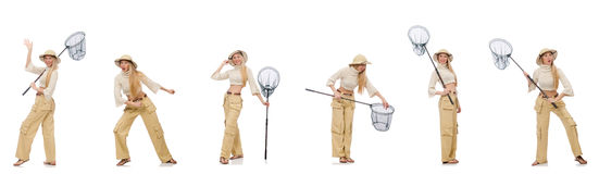 The woman with catching net on white. Woman with catching net on white Stock Image