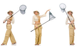 The woman with catching net. Woman with catching net on white Royalty Free Stock Image