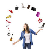 Woman catching something Stock Photography