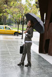 Woman Catching a Taxi Royalty Free Stock Photo