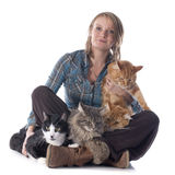 Woman and cats Royalty Free Stock Photos