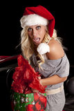 Woman caught by car with gifts Royalty Free Stock Photo