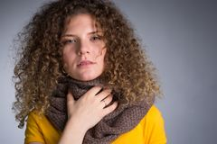 Woman caught a cold, her throat inflamed. A young woman caught a cold, her throat inflamed, cough, flu Stock Images
