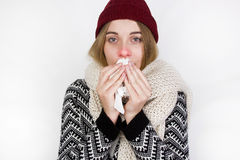 Woman Caught Cold. Sneezing into Tissue. Sick Woman. Flu. Woman Caught Cold. Sneezing into Tissue. Headache. Virus. Medicines Royalty Free Stock Photos