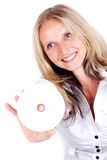 Woman and cd Stock Photo
