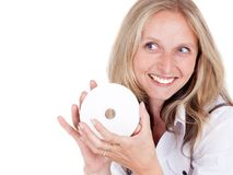 Woman and cd Stock Images