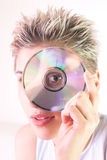 Woman and CD Royalty Free Stock Images